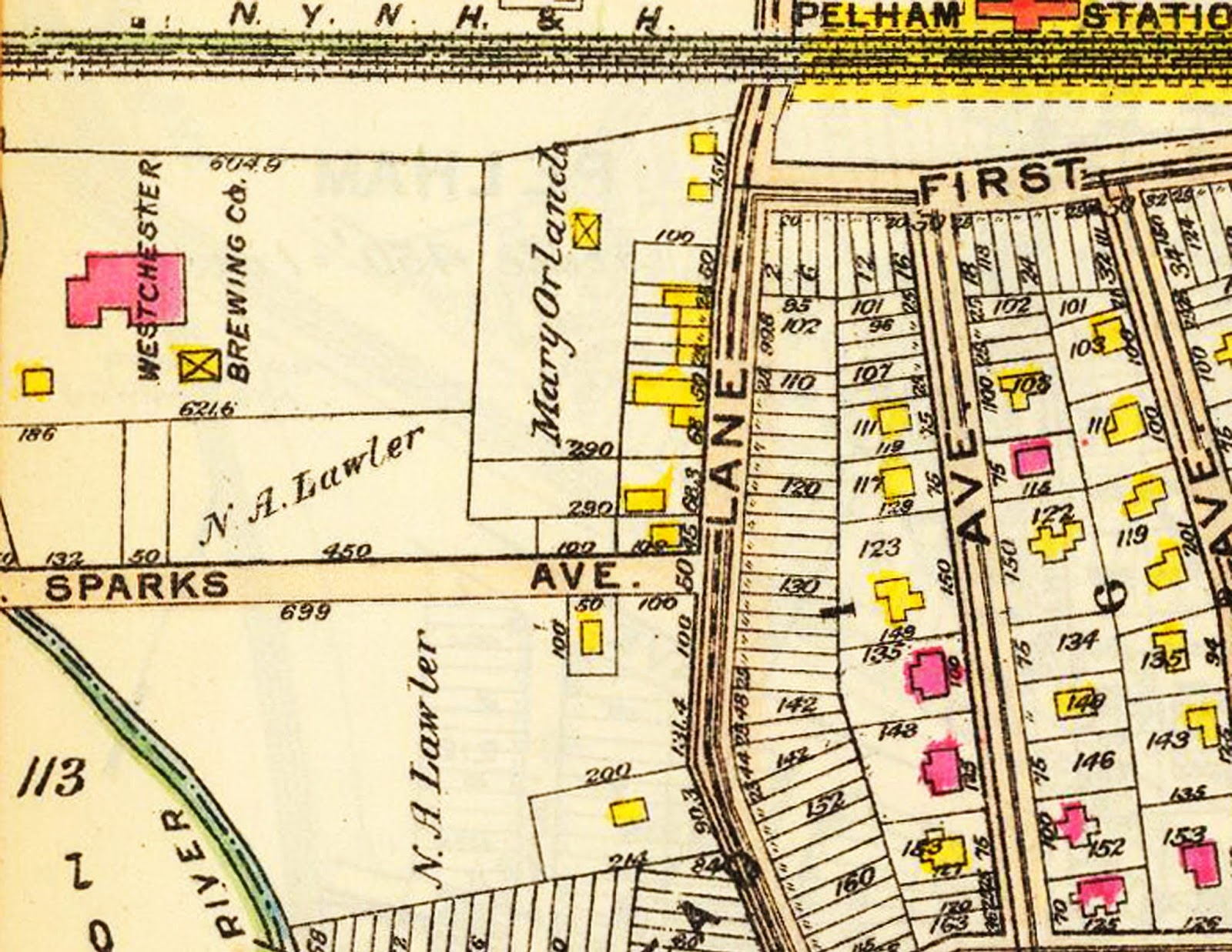 detail from 1914 bromley map with westchester brewing co
