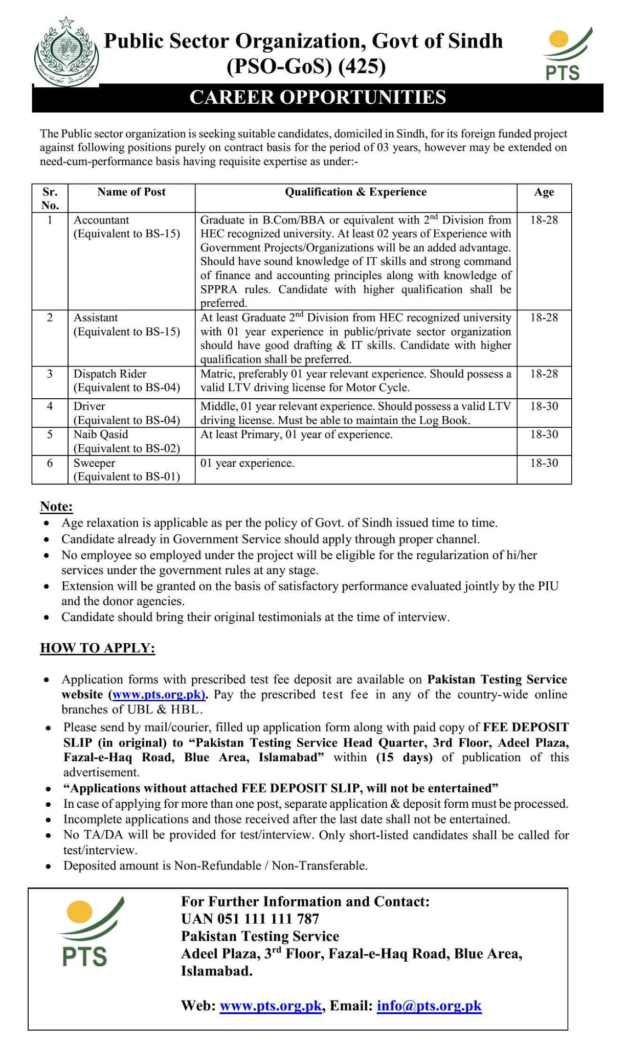 Public Sector Organization, Govt of Sindh (PSO-Sindh) Jobs 2020 | by PTS