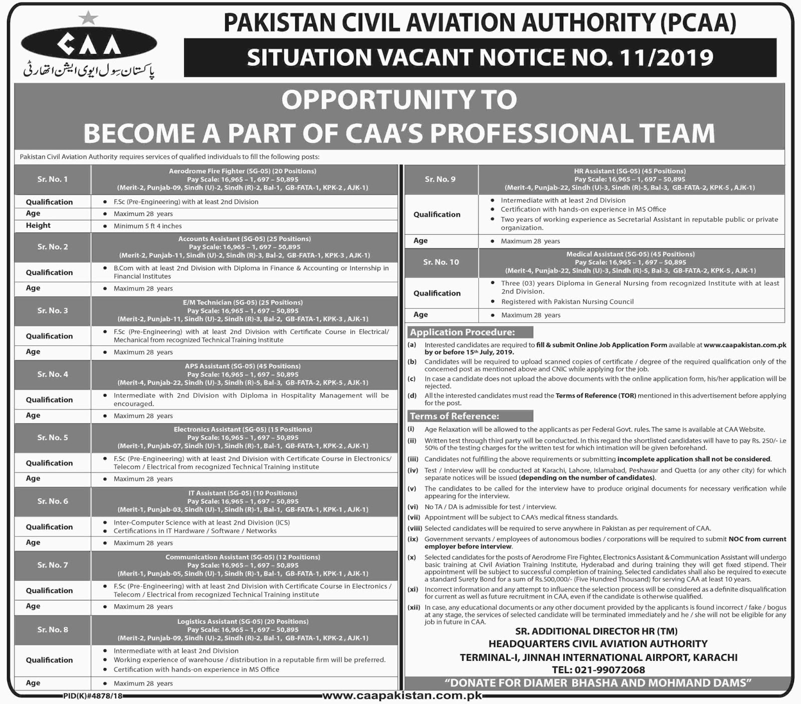Advertisement for Pakistan Civil Aviation Authority Jobs