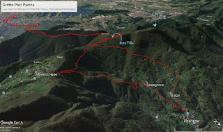 The tracks for a  hike from Bergamo to Grotta Pacì Paciana.