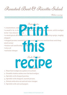 beet salad printable recipe card