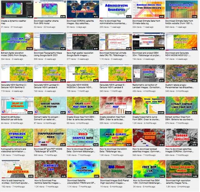 """دروس حول كيفية تحميل المعطيات والاستفادة منها """" مناخية، ارتفاعات رقمية، صور جوية، مرئيات"""" بالفيديو"""