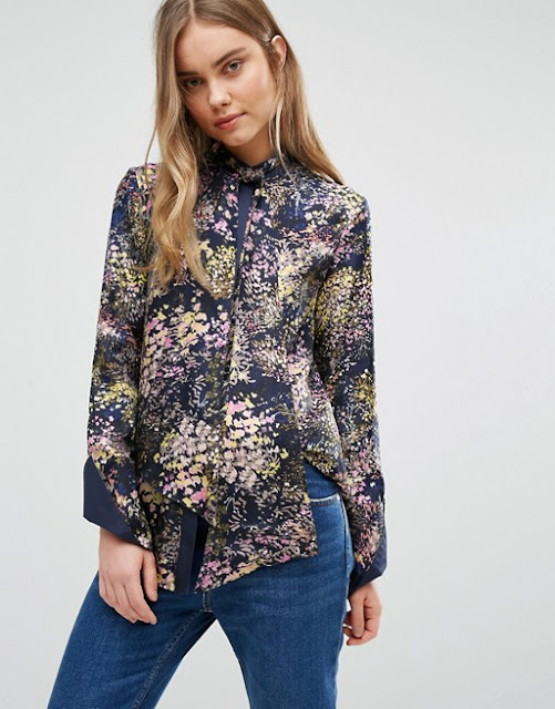 warehouse tie neck blouse, warehouse floral blouse, floral tie neck blouse,