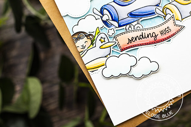 Sunny Studio Stamps: Plane Awesome Fluffy Cloud Border Dies Hugs Card by Eloise Blue