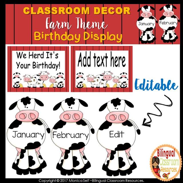 Farm Theme Birthday Display Clip Chart-Editable