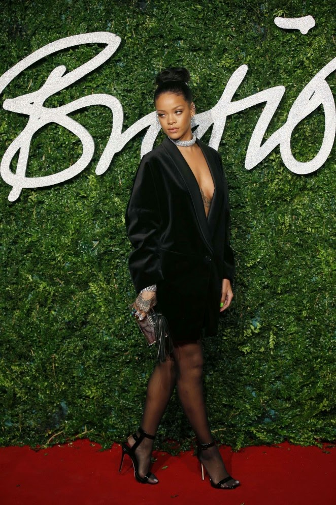 Rihanna in Stella McCartney tuxedo jacket at 2014 British Fashion Awards