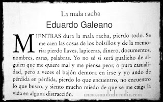 """Cuento """"La mala Racha"""" de Eduardo Galeano de El libro de los abrazos"""