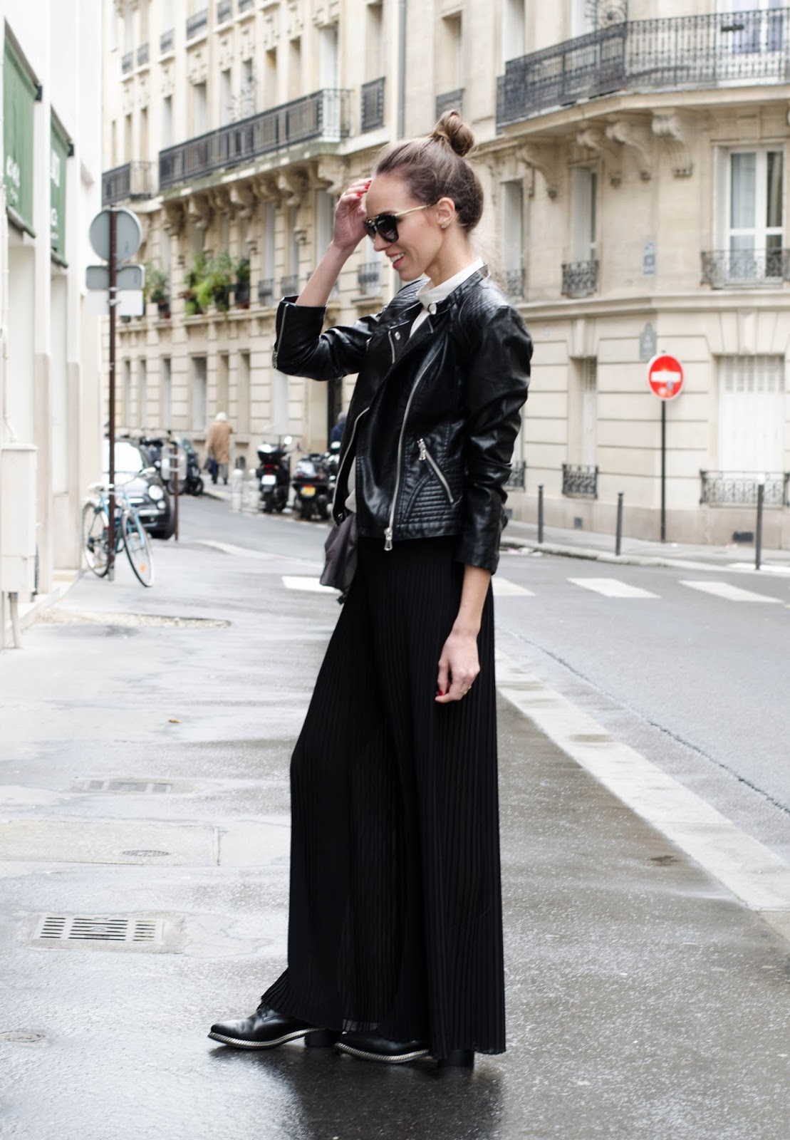kristjaana mere black pleated pants paris street style