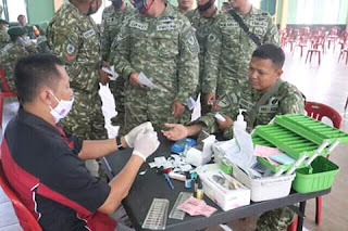 Hut 58 Yon Armed 13,Puluhan Prajurit Sumbangkan Darah