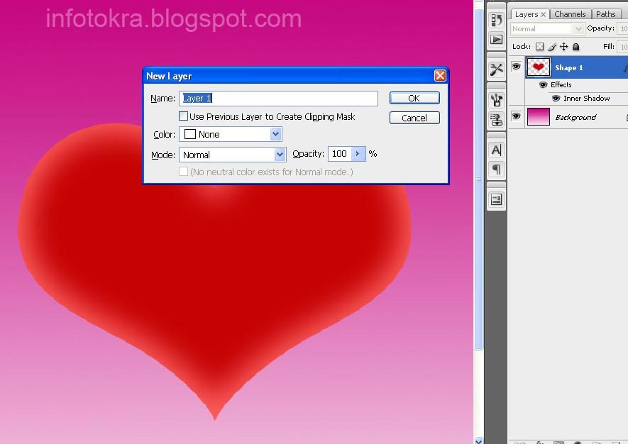 How to create a 3D Heart in Photoshop easily   Sarakuj Com   One     Then select the round edges of the heart by Elliptical Marquee Tool   we  will use it to show little glow   Then put white gradient in it as shown  below
