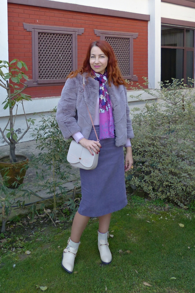 faux fur coat and corduroy skirt outfit