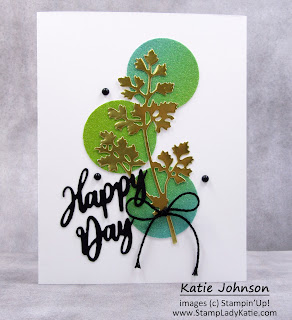 Card with Meadow Dies and Rainbow Glimmer Paper Circle background