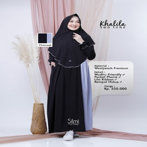silmi fashion gamis khalila two tone charcoal