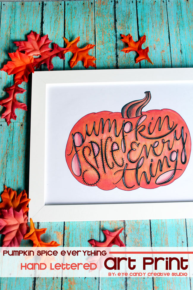 hand lettering, fall decor, fall art print, pumpkin spice, pumpkin art