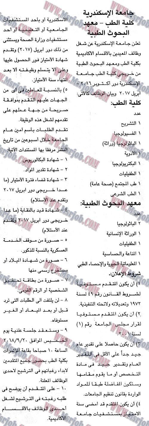 اعلان وظائف كلية الطب جامعة الاسكندرية - معهد البحوث الطبية منشور بالجمهورية 3 / 9 / 2018