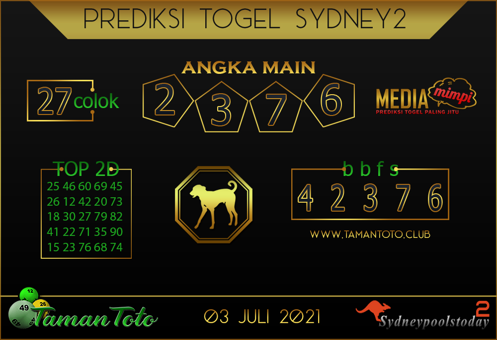 Prediksi Togel SYDNEY 2 TAMAN TOTO 03 JULI 2021