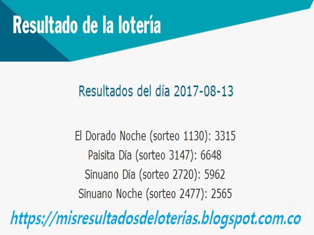 Como jugo la lotería anoche - Resultados diarios de la lotería y el chance - resultados del dia 13-08-2017