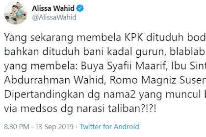 Putri Gus Dur Jengkel Buzzer Rezim Tuding Pembela KPK dengan Label 'Radikal'
