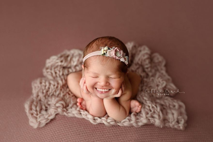 Photographer Adds Smiles On Professional Baby Pictures And It's Hilarious