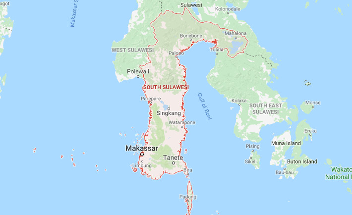 Peta Sulawesi Selatan Lengkap HD (Google Map)