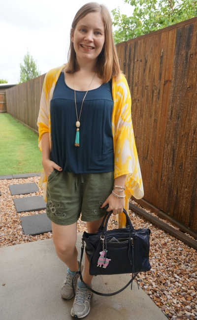 yellow navy and olive pull on shorts and kimono outfit summer mum outfit with Rebecca Minkoff Regan bag | awayfromblue