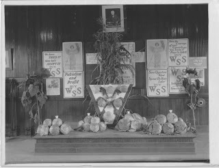 Display of produce on a raised platform with posters on the wall behind