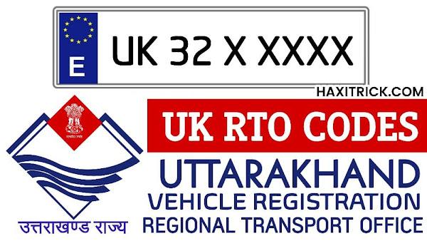 Uttarakhand UK RTO Codes List
