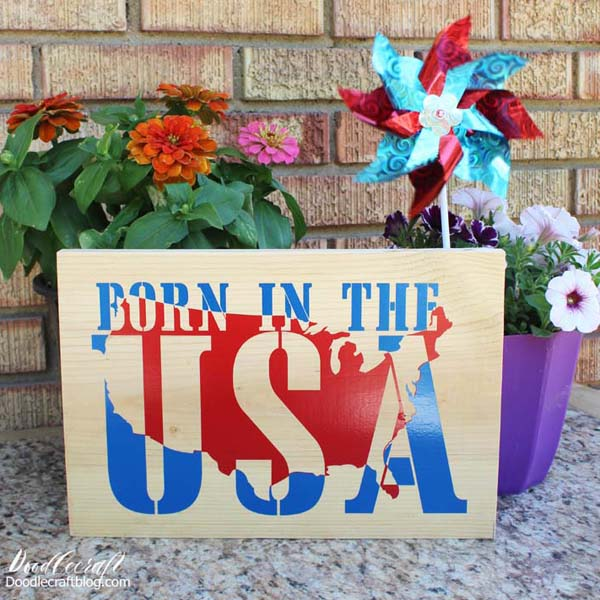 Born in the USA american patriotic vinyl wood sign art diy
