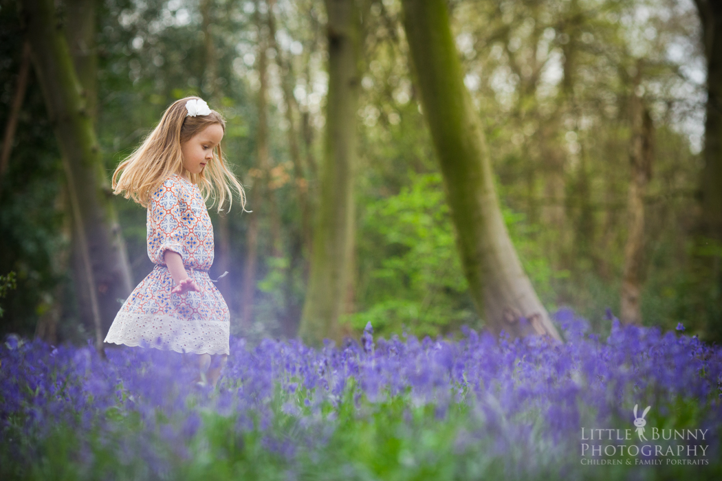 Child portrait session in the bluebells London Chigwell Wanstead Woodfrord