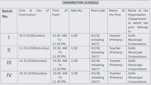 image : DSSSB Primary Teacher Exam Schedule 2018 @ TeachMatters