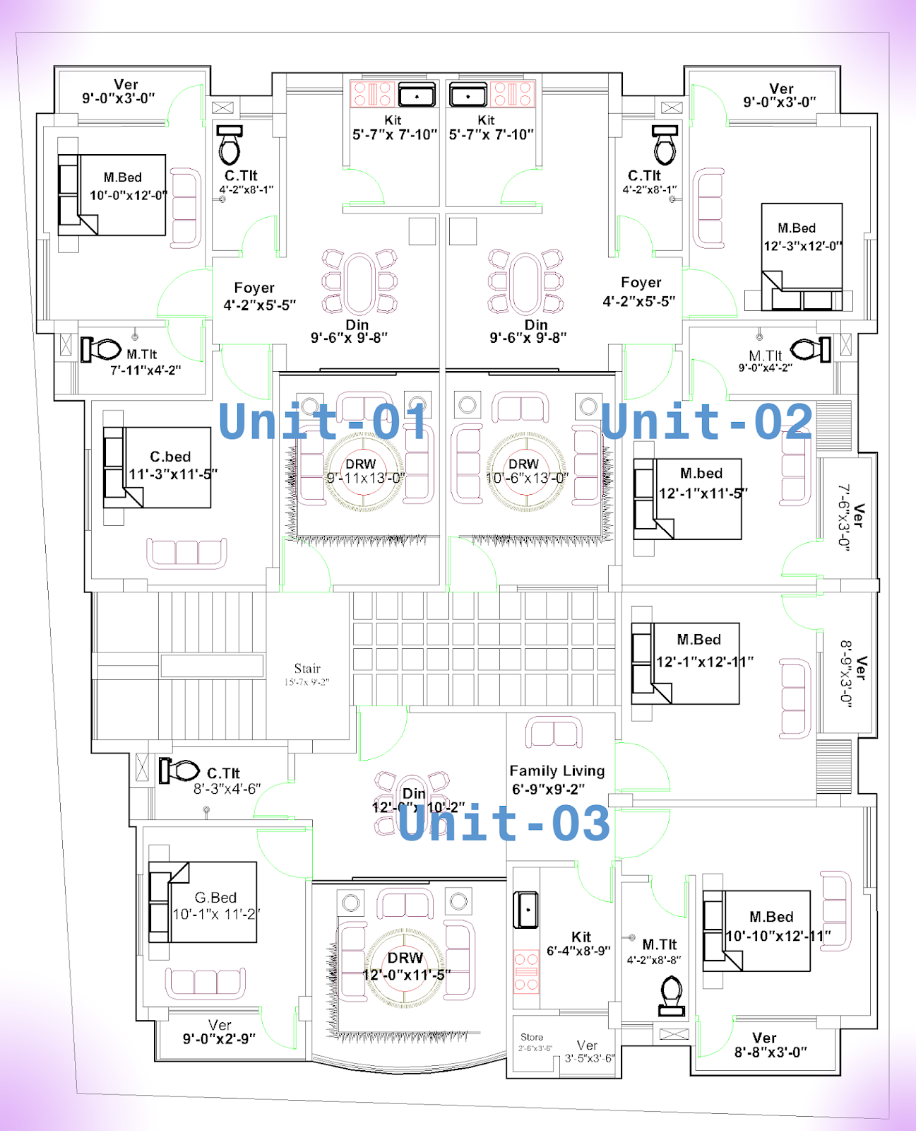 3 Unit Residential Building Plan In 3500 Square Feet First Floor