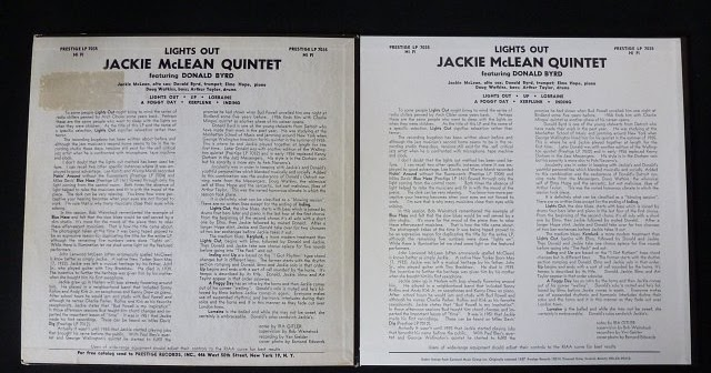 The Jackie McLean Quintet With Donald Byrd And Elmo Hope Lights Out