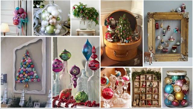 Διακοσμήσεις με vintage - αντικέ Χριστουγεννιάτικες Μπάλες