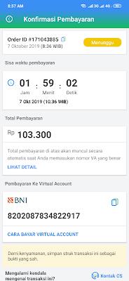 Total pembayaran untuk isi saldo dari aplikasi Payfazz