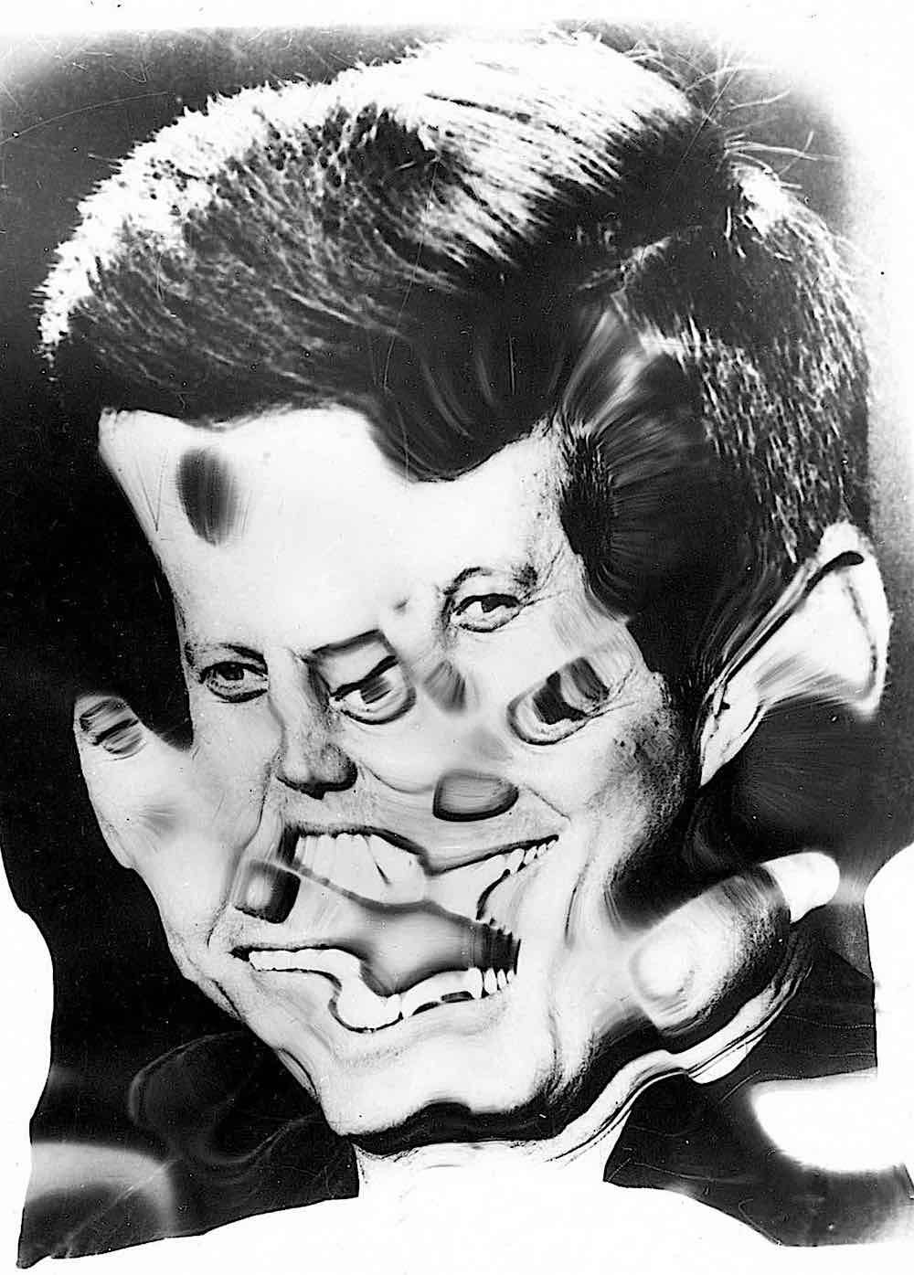 an old distorted photograph of John F. Kennedy by Wee Gee