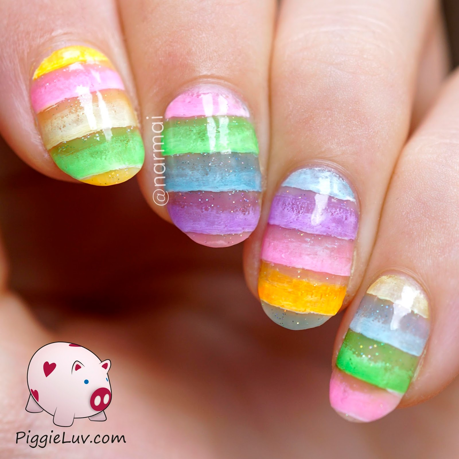 PiggieLuv: Jelly dessert nail art with OPI sheer tints