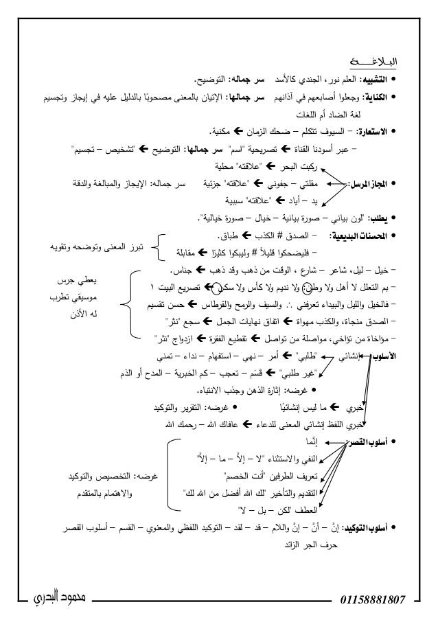 مذكرة بلاغة للشهادة الثانوية