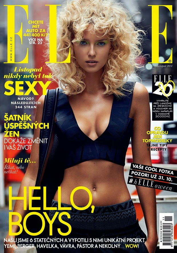 Adriana Cernanov poses for Elle Czech's November 2014 cover story