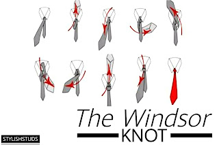 All the steps needed for tieing a windsor knot