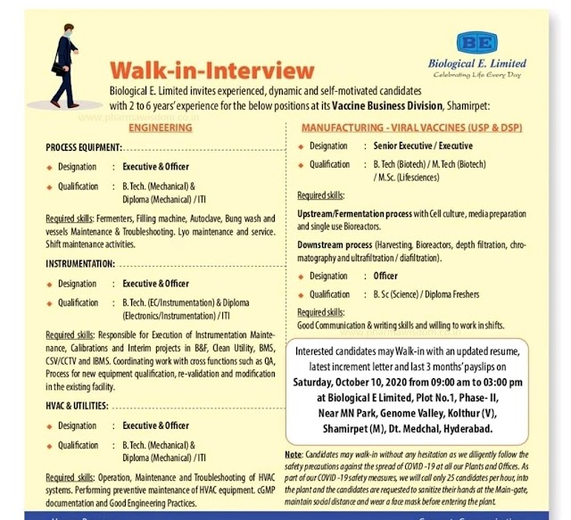 Biological E | Walk-in interview for Manufacturing/Engineering on 10 Oct 2020 at Hyderabad