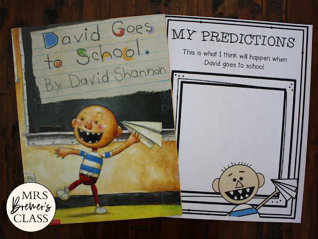 David Goes to School book study activities unit with Common Core aligned literacy companion activities and craftivity for Kindergarten and First Grade
