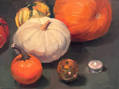 pumpkin oil painting by sarah sedwick