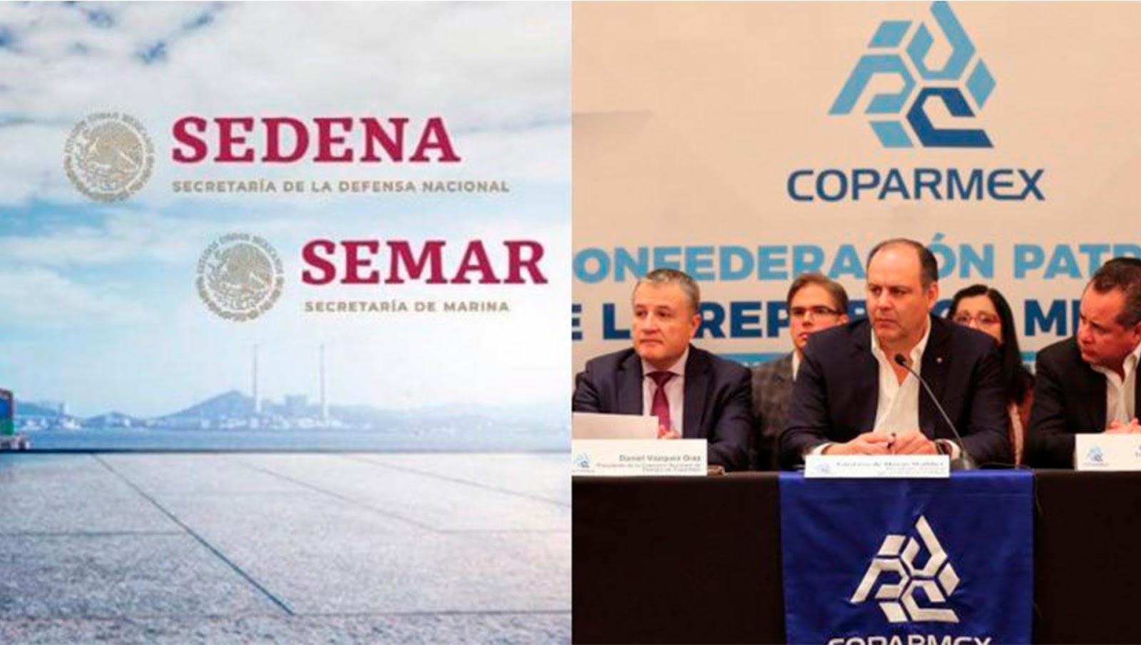 COPARMEX rechaza que SEDENA y SEMAR cuiden aduanas y puertos