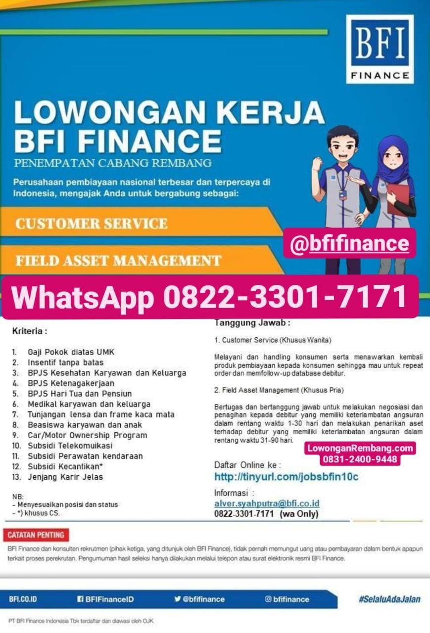 GRATIS Melamar Lowongan Kerja Customer Service Dan Field Asset Management BFI Finance Cabang Rembang