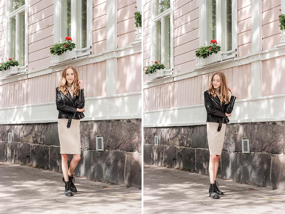 Summer to autumn transitional outfit inspiration - Välikausipukeutuminen kesästä syksyyn, muotibloggaaja, asuinspiraatio, neulemekko, nahkatakki