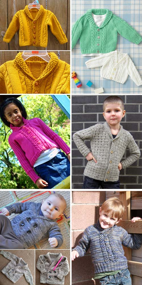 Shawl Collar Baby Sweaters - Free Knitting Patterns