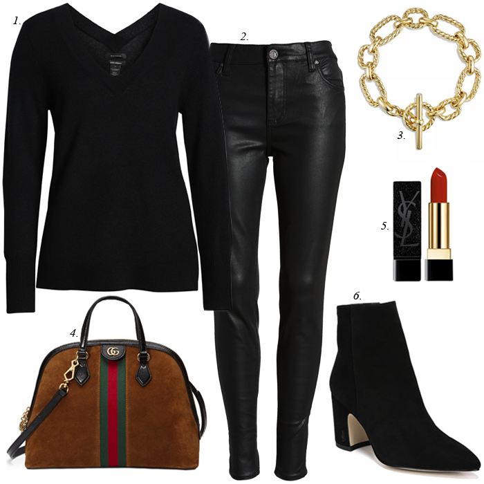 faux leather leggings, black sweater, Gucci suede satchel, sam edelman hilty suede boots