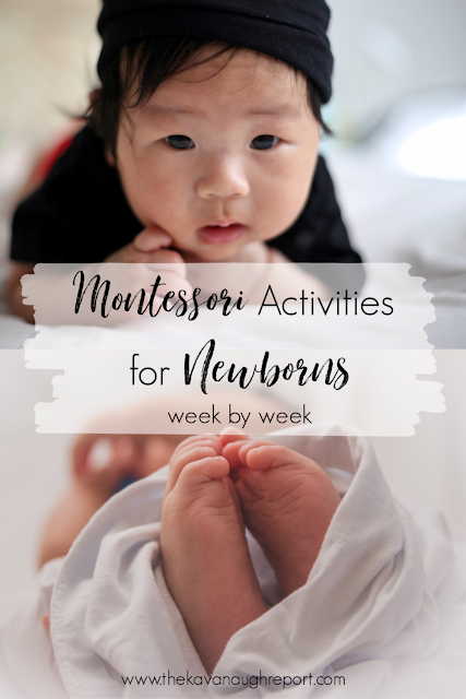 12 Montessori activities for the first 12 weeks of life! A week by week guide of what to do with your baby.