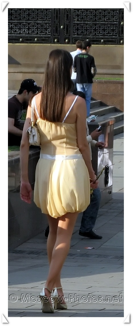 Elegant open summer dress and high heels