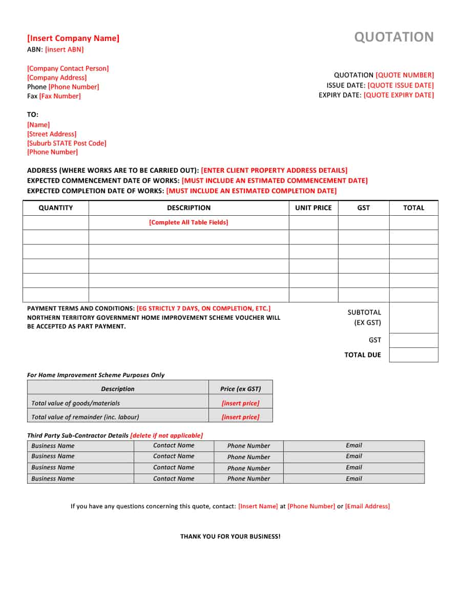 Price Quotation Samples | Template | Format | Excel ...